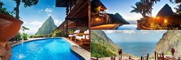 Views from Ladera Resort's pools and restaurants, St Lucia
