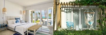 Couple Seafront Room interior and Couple Garden Room terrace at Lagoon Attitude