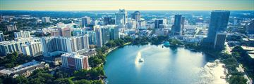 An aerial view of Lake Eola Park