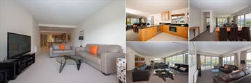 Lakeside Apartments, Wanaka, (clockwise from left): Deluxe Apartment Lounge, Designer Kitchens, Premier Apartment Dining Area, Premier Apartment Lounge and Penthouse Lounge