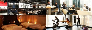Le Germain Hotel Calgary, (clockwise from top left): Charcut Roast House Restaurant, Lounge Central 899, Fitness Room and RNR Wellness Spa