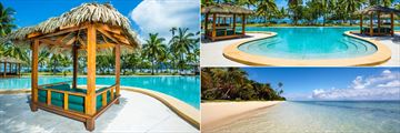 Poolside Daybed, Pool and Beach at Lomani Island Resort