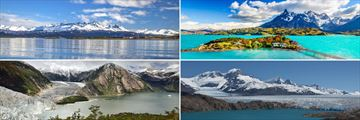 Clockwise from top left: Beagle Channel, Torres del Paine, Pia Fjord and Upsala Glacier