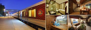 Maharajas Express; Exterior at station, Suite bathroom, Junior Suite, Living Room, deluxe