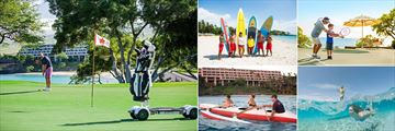 Mauna Kea Beach Hotel, (clockwise from left): Golf, Surfing, Tennis, Paddleboarding and Canoeing