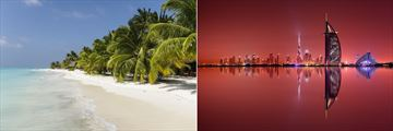 Meeru Beach in the Maldives & Dubai Skyline reflection at dusk