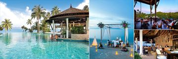 Melati Beach Resort & Spa, (clockwise from left): The Sea View Bar, Romantic Dining on the Beach, Kan Sak Thong Restaurant and The View Restaurant