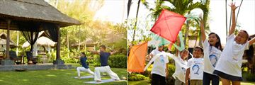 Yoga at YHIS Spa and the kid's club at Melia Bali