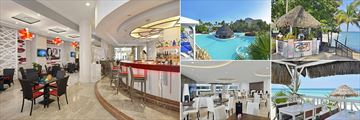 Melia Varadero, (clockwise from left): Las Palmas Lobby Piano Bar, Pool Bar, Pool Bar Chiringuito, Ranchon Beach Bar and The Level VIP Bar