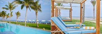 The infinity pool and couples' cabanas at Millennium Resort Mussanah