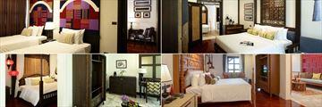 Na Nirand Romantic Boutique Resort, (clockwise from top left): Romantic Lanna Deluxe, Romantic Lanna Corner Suite, Burmese Dream and Harmonius British Indian
