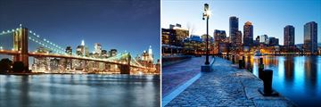 Brooklyn Bridge, New York City & Boston Harbour, Massachusetts
