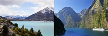 Queenstown (left), and Milford Sound (right)