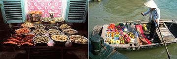 Night food market in Ho Chi Minh City, and floating food market along Halong Bay