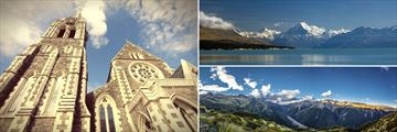 Christchurch architecture (left), Mt Cook (top right), and Arthur's Pass (bottom right)