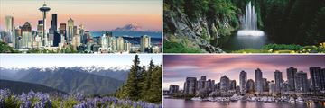Clockwise from top left: Seattle skyline, Butchart Gardens, Vancouver and Olympic Park