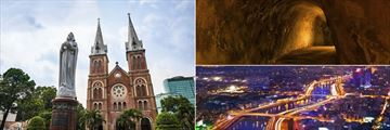 Notre Dame Cathedral, Cu Chi Tunnels & Evening cityscape, Ho Chi Minh City