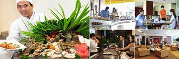 Novotel Nha Trang, (clockwise from left): The Square Seafood Dishes, The Square Buffet, The Square Interior, Le Bar and Le Bar Mixologist