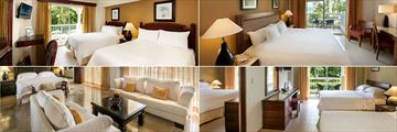 Occidental Caribe, (clockwise from top left): Double Room, Superior Sea Front Room, Family Room and Presidential Suite