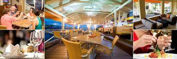Ocean Terrace Inn, Fisherman's Wharf Restaurant Interior, Fisherman's Wharf Restaurant, The Verandah Restaurant, Dining Option and Table Setting