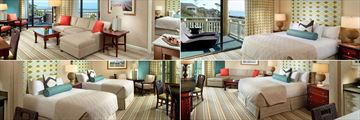 Omni Hilton Head Oceanfront Resort, (clockwise from top left): Luxury Oceanfront Suite Living Area, Luxury Oceanfront Suite Bedroom, Resort View Studio Suite and Courtyard View Studio Suite