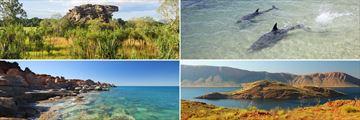 Clockwise from top left: Kakadu, Monkey Mia, Lake Argyle and Broome