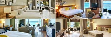 Outrigger Mauritius Beach Resort, (clockwise from top left): Beachfront Twin Beds, Beachfront Junior Suite, Ocean View and Beachfront Senior Suite