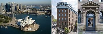 Ovolo 1888 Darling Harbour, Aerial View of Sydney and Darling Harbour and Hotel Exterior