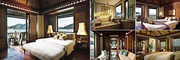 Pangkor Laut Resort, (clockwise from left): Purnama Suite, Pavarotti Suite Bathroom, Sea Villa, Spa Villa and Suria Suite