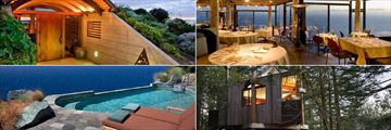 Post Ranch Inn, (clockwise from top left): Hotel Entrance, Sierra Mar Restaurant, Tree-House and Cliffside Pool