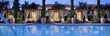 Spa Pool Cabanas at Night at Rancho Bernardo Inn Golf Resort & Spa
