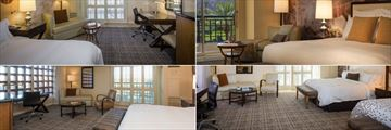 Renaissance Indian Wells Resort & Spa, (clockwise from top left): King Room Pool View, King Room, Corner Queen-Queen Room and King Spacious Corner Room