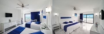 Riu Caribe, Double Room with Sea View and Junior Suite with Frontal Sea View
