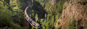 Rocky Mountaineer travelling through Cheakamus Canyon