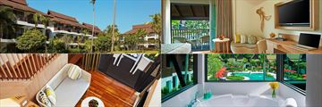 (Clockwise from left): Thai Village Wing exterior, Two Bedroom Family Suite Pool View, Breeze Spa & Deluxe Family Duplex
