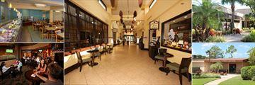 Rosen Inn at Pointe Orlando, Plaza Garden Restaurant, Lobby, Plaza Garden Restaurant and Smooth Java Entrance, Lite Bite Mini Market & Deli, Game Room & Video Arcade and Zebra Lounge
