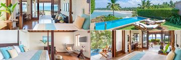 Saman Villas, Bentota, (clockwise from top left): Deluxe Room, Deluxe Room with Pool, Grand Deluxe and Saman Villa