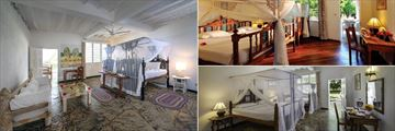 Sandies Tropical Village, (clockwise from left): Junior Suite, Superior Room and Deluxe Room