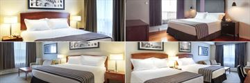 Sandman Hotel & Suites Winnipeg Airport, (clockwise from top left): Standard King Room, Executive Jacuzzi Suite, Executive Double with Sofabed Suite and Junior Corporate Suite