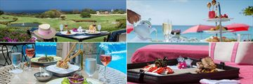 Sandy Lane, (clockwise from top left): Lunch at the Country Club, on the Beach, by the Pool and at the Spa