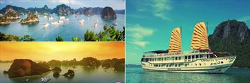 Scenic Halong Bay panoramas & Cruise boat