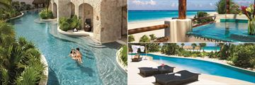 Secrets Maroma Beach Riviera Cancun, (clockwise from left): Swim Out Suites, Preferred Club Honeymoon Suite and Presidential Suite Swim Out