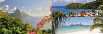 St Lucia Pitons, Beach and Canaries