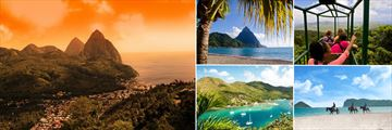 St Lucia, Pitons at sunset, Palms on the beach with Piton Views, Rain Forest Aerial Tram, Horseriding on the beach, Bay View