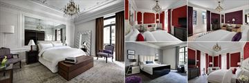 The St Regis New York, (clockwise from left): Milano Suite, St Regis Suite, Madison Suite, 5th Avenue Suite and Bentley Suite Bedrooms