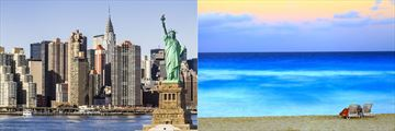 Statue of Liberty, New York Skyline & Cancun Beach