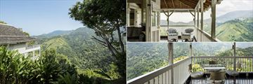 Strawberry Hill, Two Bedroom Villa Exterior, Veranda with Mountain Views and Studio Cottage Balcony