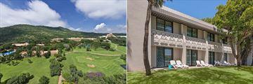Sun City Cabanas, Aerial View of Gary Player Golf Course, Cabanas, Soho and The Cascades and Exterior of Room Block