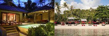Beautiful private plunge pool and sun loungers at Anantara Rasananda Koh Phangan