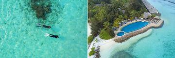 Snorkelling and main pool at Taj Coral Reef Resort